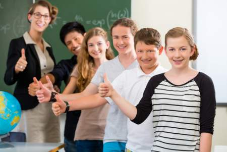 Middle School Students with Teacher