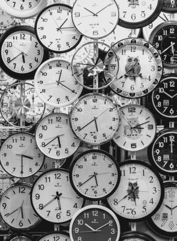 image of lots of clocks symbolizing timing