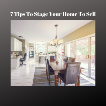 7 tips to stage your home to sell with picture of beautifully clean & tastefully decorated dining room