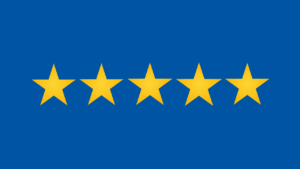 5 yellow stars on blue background
